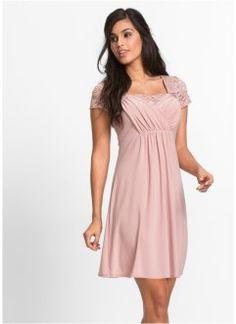 Jerseyklänning med spets, BODYFLIRT, gammalrosa