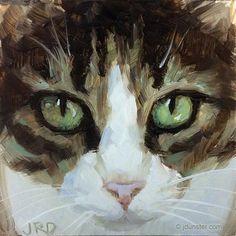 "Daily Paintworks - ""Close-up (Cat Head)"" - Original Fine Art for Sale - © J. Dunster"