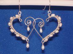 Fresh Water Pearl and Sterling Silver Heart Earrings by jagrocks, $28.00