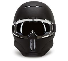 The Shadow - a shining example of the Ruroc range, streamlined, lightweight and high protection. This helmet comes in Matt Black textured finish with Chrome goggles. Ducati, Yamaha, Ski Gear, Snowboarding Gear, Motocross, Indian Scout Bike, Full Face Helmets, Bmw, Bicycle Helmet