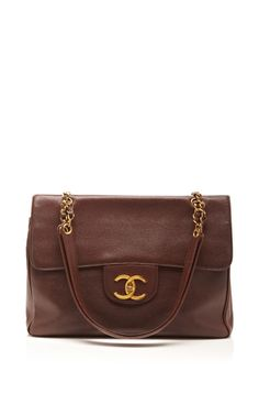Vintage Chanel Brown Caviar Super Tote by What Goes Around Comes Around - Moda Operandi