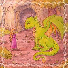 Eine #Illustration für #Kinder von Christina Busse www.christinabuss... für die #Kurzgeschichte 'Die Prinzessin und der Drache' von Silke Winter.