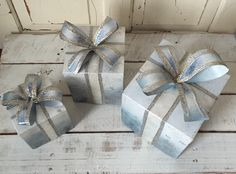 Christmas Shabby-Chic Blue Stackable Tin Box's by RinggoldRelics on Etsy