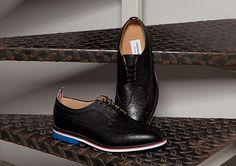 Thom Browne Black Pebble Wingtip Shoes