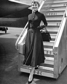 Audrey Hepburn arriving at Heathrow Airport in London, May 21 1953.