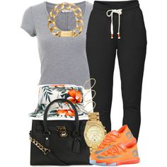 A fashion look from September 2014 featuring Miss Selfridge t-shirts, Lija activewear pants and Michael Kors handbags. Browse and shop related looks.
