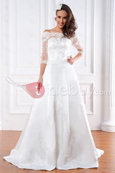 Gorgeous A-line Bateau 3/4-Length Sleeves Floor-Length Court Appliques Renata's Wedding Dress : Tidebuy.com