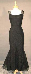 BOMBSHELL Black Lace 1950's Evening Gown w/ Mermaid Hem