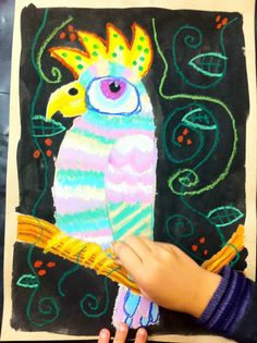 oil pastel parrot art for kids, wellington.nz http://www.facebook.com/artforkidswellington