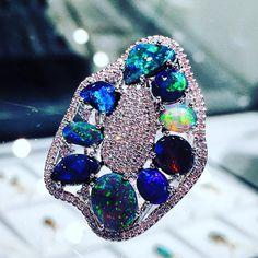"51 Likes, 4 Comments - 2.01, 140 George St. Sydney (@cosmopolitanjewellers) on Instagram: ""#blackopal #ring set in 18k with #Diamonds #sydney #opaljewellery #lightningridge #australia"""