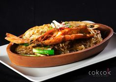 """Kung op wun sen"" Tiger #prawns with mungbean noodles; fresh ginger, oyster sauce, fresh coriander, garlic"