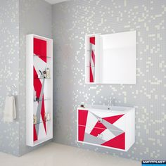 Bathroom furniture - Amara; Dimensions: Cabinet - 76x43x50 cm; Mirror - 60x80x2 cm;  Wall unit 20x80x15 cm; Side wall - 180x50x15 cm; Total hight of the cabinet - 84 cm;