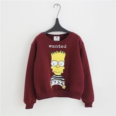 Wine Red Round Neck Simpson Print Crop Sweatshirt 15SS00063-2 ($16) ❤ liked on Polyvore featuring tops, hoodies, sweatshirts, shirts, red hoodie, long sleeve shirts, comic book, long-sleeve shirt and red crop top
