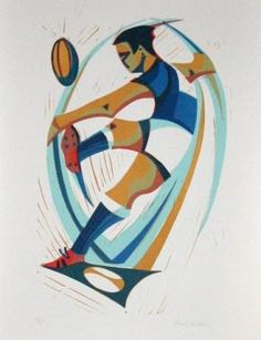 Conversion (rugby), linocut by Paul Cleden