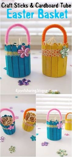 Simple And Easy Easter Basket Craft For Kids EasterCrafts KidsCrafts RecycledCrafts artsandcrafts 417427459204877089 Easter Arts And Crafts, Easter Projects, Spring Crafts, Holiday Crafts, Art Projects, Paper Easter Crafts, Paper Craft, Project Ideas, Craft Stick Crafts