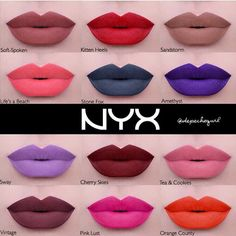 NYX liquid suede cream lipsticks!! i want soft spoken, cherry skies, vintage, and tea & cookies