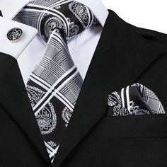 Glen Plaid Silk Tie, Pocket Square and Cufflinks Set