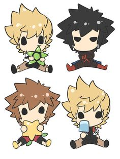 """Ventus, Vanitas, Sora & Roxas ~ loll I just saw this and I was like """"omg they're deamons"""" -.- I think I've watched too much supernatural episodes today xd Kingdom Hearts Fanart, Disney Kingdom Hearts, Kingdom Hearts Tattoo, Chibi, Supernatural Episodes, Pokemon, Vanitas, Manga, Final Fantasy"""
