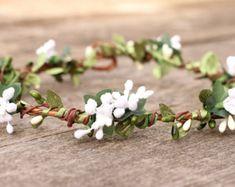Artificial Green Silk Leaf  Flower Crown  Hair Garland