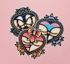 ♡ A bunch of heart-shaped bums drawn in a cute traditional-tattoo inspired style! ♡ Stickers are 2.25 inches tall. ♡ These stickers are printed on glossy, water resistant sticker paper that is perfect for your laptop, notebooks, planners and other indoor surfaces. ♡ Also available as a set of three for a bundle price! Line Art Tattoos, Cute Tattoos, Traditonal Tattoo, Sticker Paper, Stickers, Sticker Ideas, Piercing Ideas, Art Drawings Sketches, Traditional Art