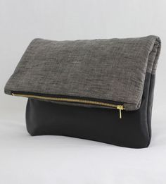 Black Leather  Linen Foldover Clutch