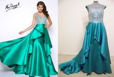 Make a statement in this amazing Mac Duggal® replica gown with waterfall overskirt at prom, on the runway or at a red carpet event.  Keep the higher neckline of the replica or keep the slightly plunging neckline of the original. (replica Mac Duggal® 48501)