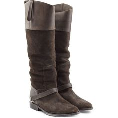 Golden Goose Leather-Suede Riding Boots (1,075 CAD) ❤ liked on Polyvore featuring shoes, boots, brown, brown knee high boots, suede boots, riding boots, brown leather boots and leather boots