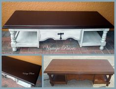"""Vintage Paints says, """"This old and dated coffee table with a laminate top has been in my client's family for decades. What a fun piece to update! General Finishes Java Gel Stain on top has this laminate top looking like a dark, solid wood. I swear by this product, it is AMAZING!"""" Note: General Finishes cannot guarantee coverage over laminate. You can find your favorite GF products at Woodcraft, Rockler Woodworking stores or Wood Essence in Canada. You can also use your zip code ..."""