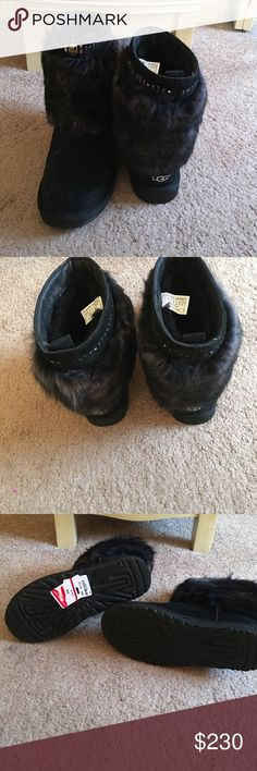 NWOB Uggs Vilet If you're into fashion and fun, you're going to love these Uggs! They're the Vilet style and they're suede back with black fur and studs on the top. I tried them on and wore them around my apartment for a few minutes, so they're new. When I purchased these from Nordstrom Rack, they didn't come with the corresponding box, so I can send the box I bought them in. Super cute! *NO TRADES OR LOWBALL OFFERS, please.* UGG Shoes Winter & Rain Boots