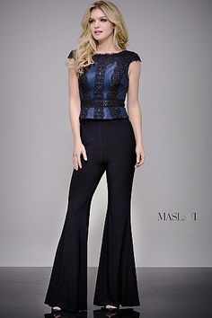 f76978d4d86 Black and Navy Flare Leg Contemporary Jumpsuit by Jovani M604