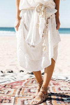 lace up sandals, white bohemian dress Mode Style, Style Me, Lace Up Sandals, Lace Skirt, Style Inspiration, Fashion Outfits, Stylish, White Bohemian, Windsor Smith