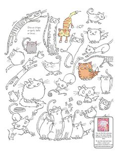 Printable Cat Colouring Page from Usborne Drawing, Doodling and Colouring for Girls http://usborneonline.ca/catalogue/browse.asp?org=108319=1=1=A=ACCD=6264