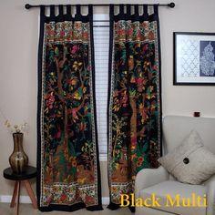 Tab Top Curtains, Boho Curtains, Cotton Curtains, Tropical Curtains, Purple Curtains, Cotton Fabric, Bohemian Design, Bohemian Decor, Bohemian Furniture