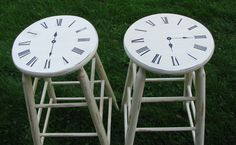 Upcycled bar stools. Very clever idea. More photos on the lovely and inspiring blog upcyclingmylife http://upcyclingmylife.blogspot.co.uk/2011/09/bar-stools-phase-ii.html?showComment=1315350834414#