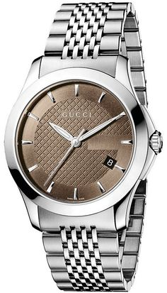 Gucci Watch , Gucci Men's YA126406 G-Timeless Medium Brown Dial Stainless-Steel Watch