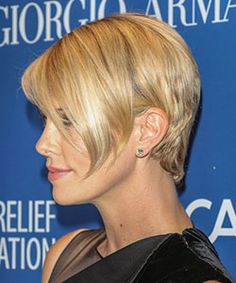 Charlize Theron is proof a woman can shave her head and look more gorgeous than ever. She has worn her hair in a pixie to a wavy bob. With pictures and how to get the look