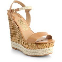 Salvatore Ferragamo Marlene Wicker Wedge Espadrille Sandals found on Polyvore