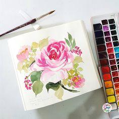 Happy Monday everyone! #dreweuropeo #calligrafikas #grafikas #watercolor #expressivepainting #loosepainting #grafikaflora Paper: Cheap sketchbook Brush: Raphael Martora round no 10 Paint: Mission Gold