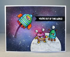I've been wanting to try a space background for some time and sinceI bought this great MFT stamp set, Out of This World , this summer, I th...