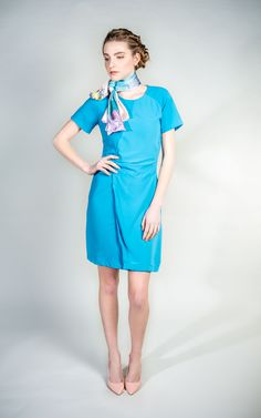 Blue Wrap Dress feminine and versatile  #blue #dress #fashion #WantHerDress