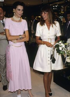 Princess Caroline of Monaco and Chanel's  model Inès de la Fressange.1988.
