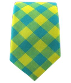 - Neon Gingham - Turquoise/Yellow (Cotton Skinny) Ties