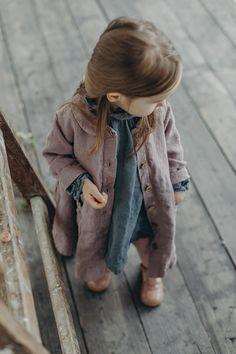 Linen Coat for Girls Pink Coat Washed Linen Toddler Coat