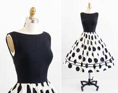 vestido vintage de los años 50 / 50 años vestido / negro y