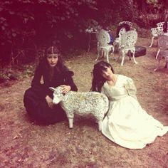 head necklace, feild, chairs, sheep, long dresses, CocoRosie