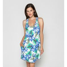 c5d8e9249a Coco Reef Swim Women's Short Tank Cover Up Dress. This tank swim suit cover  up dress sits right above the knee with a pretty floral print on the front  and ...