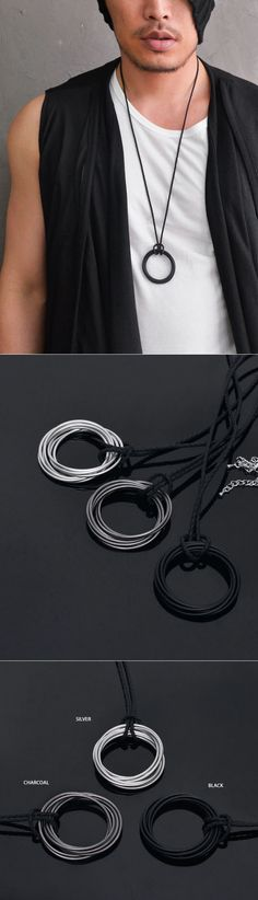 Accessories :: Dark Edge Multi Circle Long-Necklace 214 - Mens Fashion Clothing For An Attractive Guy Look