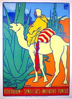 1930s Tunisia vintage travel poster / camel