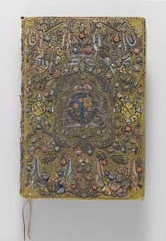 Astonishingly beautiful piece from the Met's collection: British book from 1624, embroidered with silk and metal threads. Gift of Irwin Untermyer