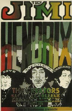 Concert poster for Jimi Hendrix in Sacramento, CA in 1968. 11 x 17 inches on…